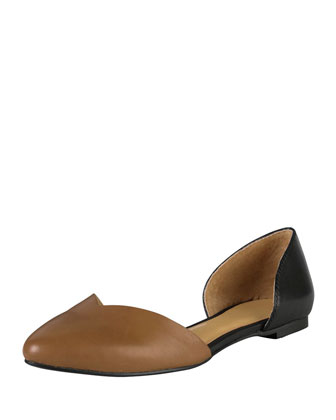Chrissy Two-Tone Leather Skimmer, Black/Cognac