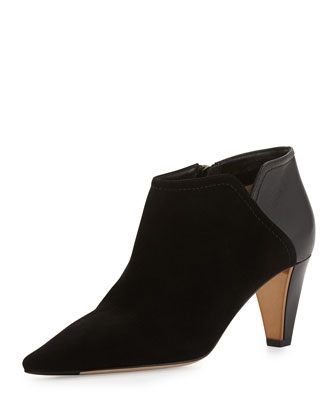 Harris Suede Point-Toe Bootie, Black