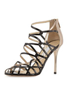 Fiscal Strappy Woven Leather Sandal, Black/Nude