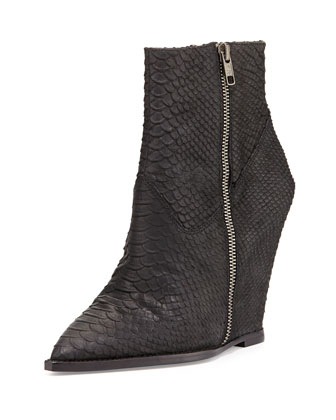 Julie Snake-Print Leather Wedge Bootie, Black