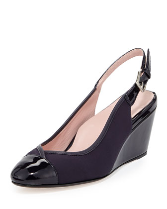 Karine Stretch Slingback Wedge, Navy