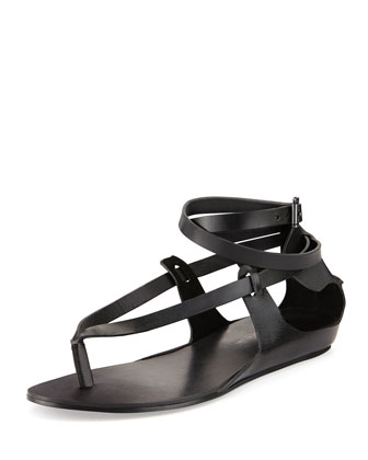 Brea Ankle-Wrap Thong Sandal, Black