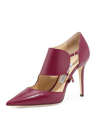 Heath Leather Monk-Strap Pump, Dark Orchid