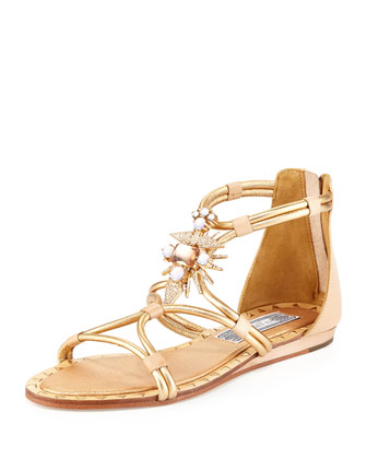 Basil Studded Ornament Sandal, Light Gold