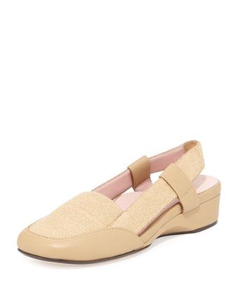 Kamille Linen Slingback Sandal, Camel
