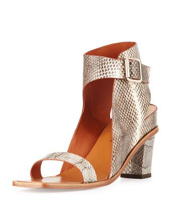 Celest Snakeskin Ankle-Wrap City Sandal, Roccia