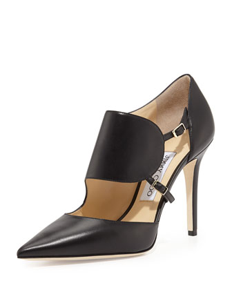 Heath Leather Monk-Strap Pump, Black