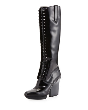 Runway Juno Lace-Up Patent Leather Knee Boot, Black
