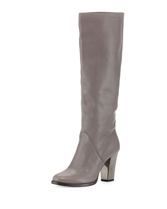 Marvel Leather Knee Boot, Light Quartz