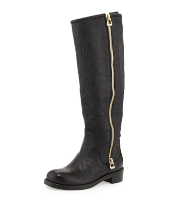 Doreen Flat Zip Knee Boot, Black