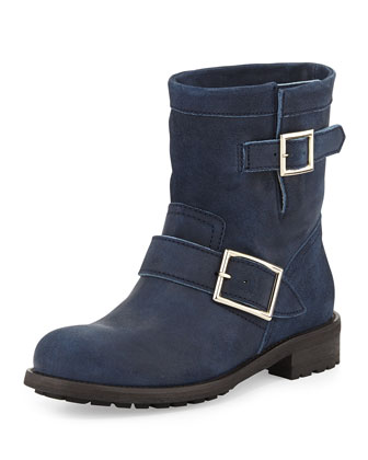 Youth Short Suede Biker Boot, Blue Gray