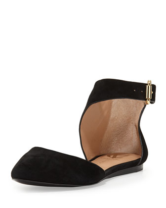 Cammie Suede Point-Toe Flat, Black