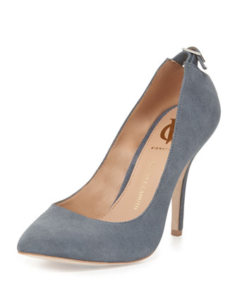 Chantilli Suede Point-Toe Pump, Denim