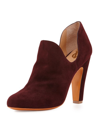 Gabel Suede Dip-Side Bootie, Bordeaux