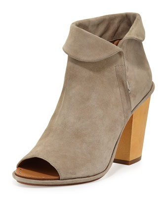 Odasha Suede Fold-Over Bootie, Earth
