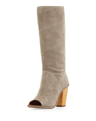 Opah Peep-Toe Suede Knee Boot, Roccia Gray
