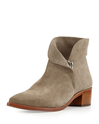 Reinah Side-Zip Suede Ankle Bootie, Roccia Gray