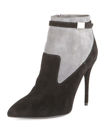 Suede Point-Toe Ankle Bootie, Black/Gray
