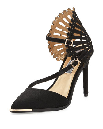 Consuelo Point-Toe Calf Hair Pump, Black
