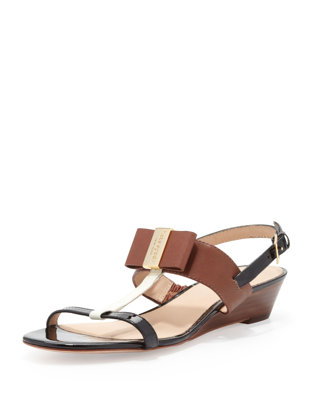 vinny colorblock bow wedge sandal, multi   kate spade new york   Cream/Luggage