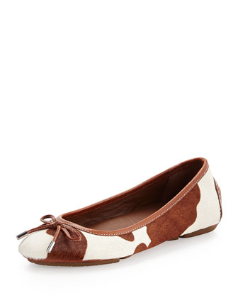 Riki Calf Hair Ballerina Flat, Saddle