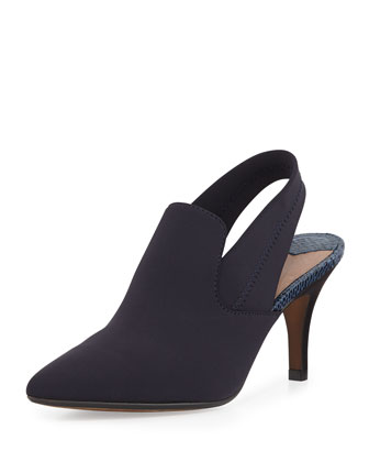 Time Crepe Slingback Boot, Navy