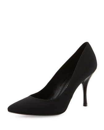 Brave Point-Toe Crepe Pump, Black