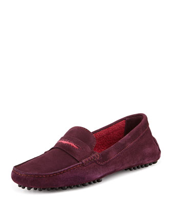 Terry-Trimmed Suede Driver, Aubergine/Cranberry