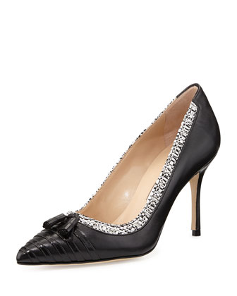 Lefino Leather/Tweed Tassel Pump