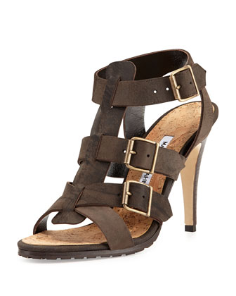 Pidigi Leather Triple-Buckle Sandal, Green