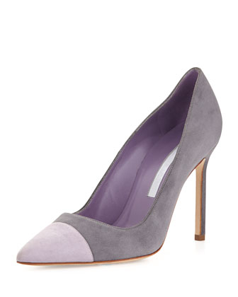 Bipunta Bicolor Suede 105mm Cap-Toe Pump, Gray/Lilac