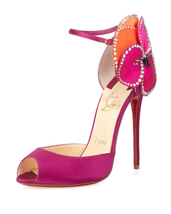 Pensamoi Satin Rose Red Sole Sandal, Pink