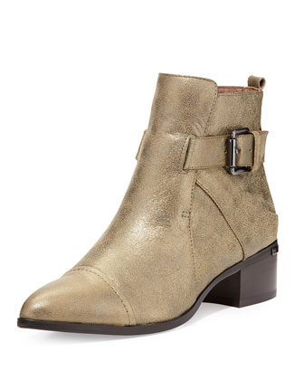 Doma Metallic Ankle Boot, Olive