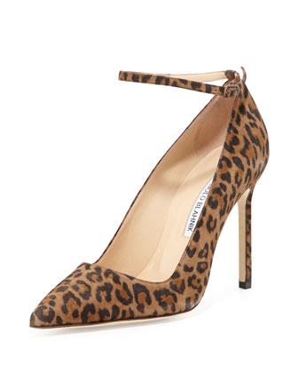 BB Suede Ankle-Strap Pump, Leopard