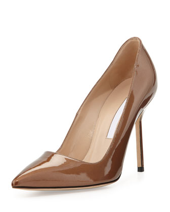 BB Metallic Patent Leather Pointy Toe Pump, Bronze