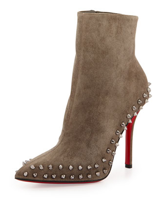 Wiletta Spike-Trim Suede Red Sole Bootie, Black