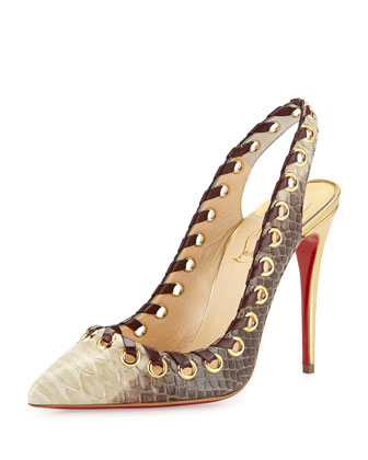 Ostri Python Red Sole Slingback Pump, Natural
