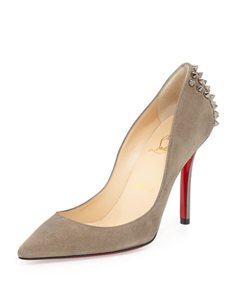 Zappa Spiked Suede Red Sole Pump, Gray/Silver