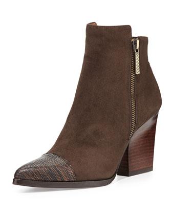 Volt Suede/Lizard-Print Ankle Boot, Bronze/Espresso