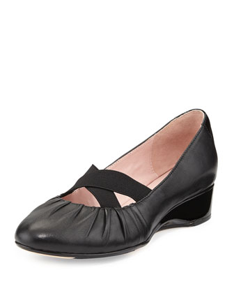 Florine Leather Crisscross Flat, Black