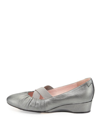 Florine Leather Crisscross Flat, Pewter