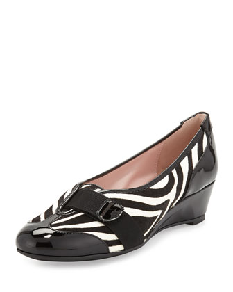 Platz Traveler Zebra-Print Calf Hair Wedge, Black/White