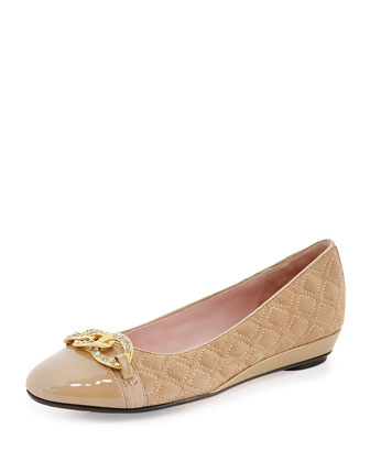 Priya Suede Chain-Buckle Slip-On, Peanut
