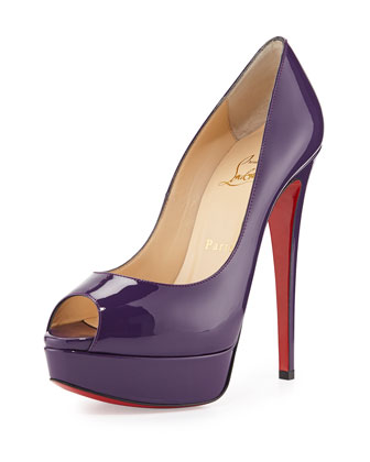 Lady Peep Patent Red Sole Pump, Violet