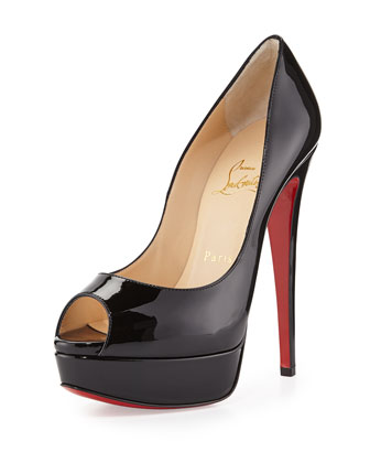 Lady Peep Patent Red Sole Pump, Black