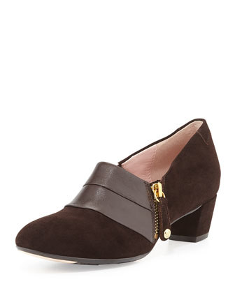 Fabian Side-Zip Suede Ankle Bootie, Chocolate