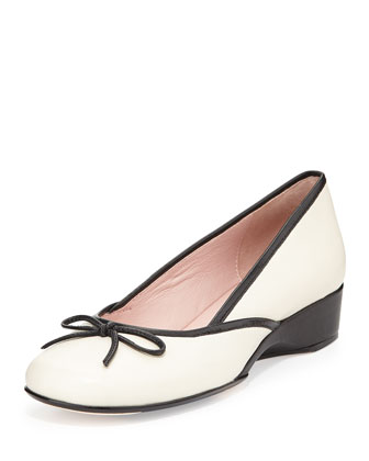 Karumba Bow-Front Leather Ballerina, Antique White/Black