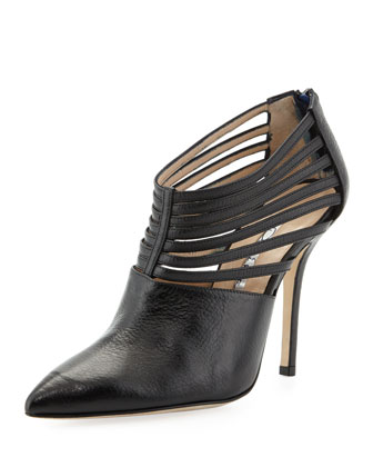 Elisabeth Strappy Leather Bootie, Black