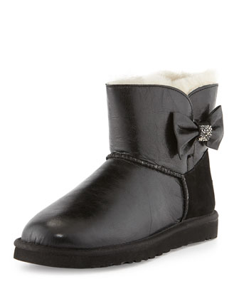 Mini Bailey Bow Crystal Shearling Fur Boot, Black