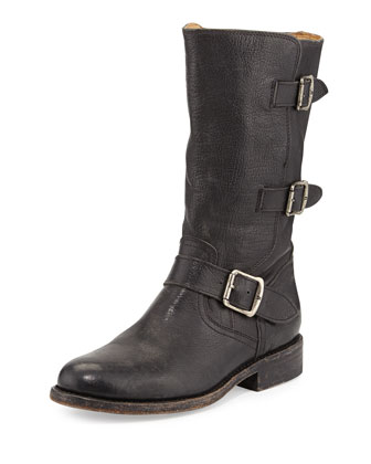 Jayden Leather Moto Boot, Black